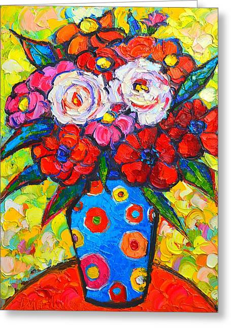 Recently Sold -  - Abstract Expression Greeting Cards - Colorful Wild Roses Bouquet - Original Impressionist Oil Painting Greeting Card by Ana Maria Edulescu