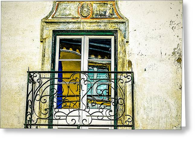 Colorful Window Reflections In Portugal Greeting Card by Marion McCristall