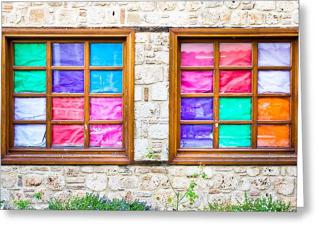 Red Abstracts Greeting Cards - Colorful windows Greeting Card by Tom Gowanlock