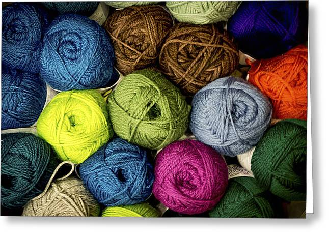 Colorful Yarn Greeting Card by Jean Noren