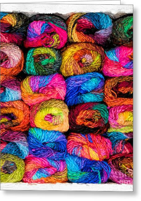 Inventory Greeting Cards - Colorful Yarn - Painterly Greeting Card by Les Palenik