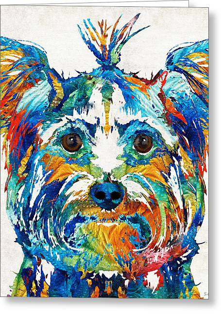 Teacup Greeting Cards - Colorful Yorkie Dog Art - Yorkshire Terrier - By Sharon Cummings Greeting Card by Sharon Cummings