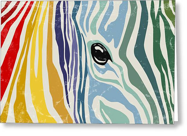 Abstract Digital Art Greeting Cards - Colorful zebra Greeting Card by Mihaela Pater