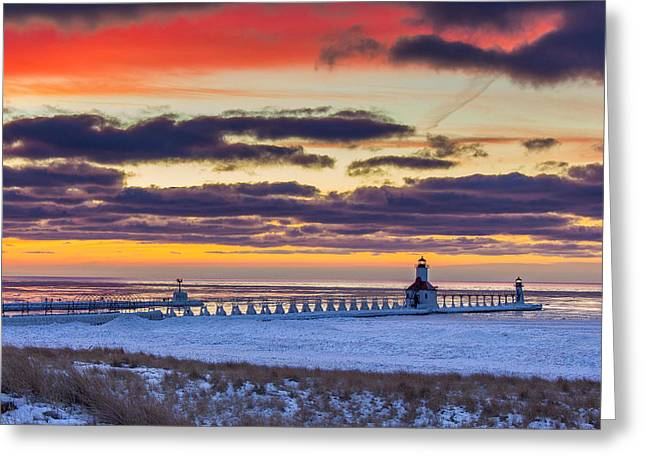 Colors After Sunset In St Joseph Greeting Card by Jackie Novak