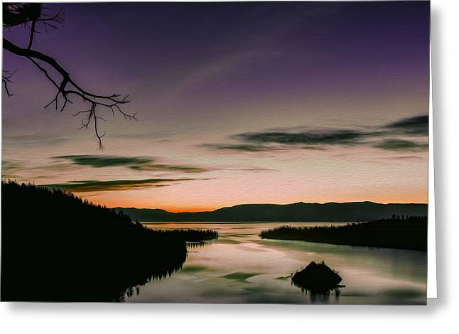 Western Pyrography Greeting Cards - Colors in Emerald Bay Greeting Card by Maria Coulson