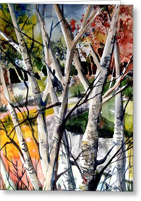 Birch Tree Drawings Greeting Cards - Colors of a Prayer Greeting Card by Mindy Newman