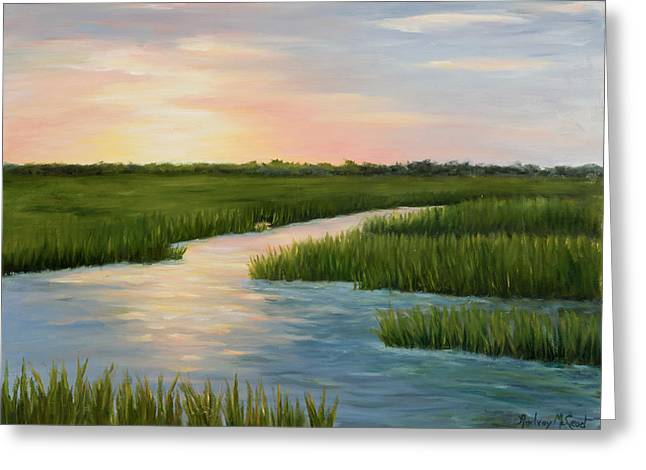 Water Reflecting At Sunset Greeting Cards - Colors of a  Sunset Greeting Card by Audrey McLeod