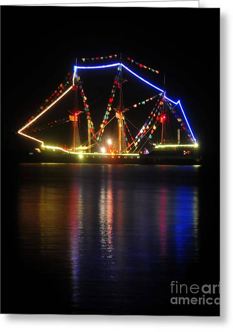 Pirate Ship Greeting Cards - Colors of Gasparilla Greeting Card by David Lee Thompson