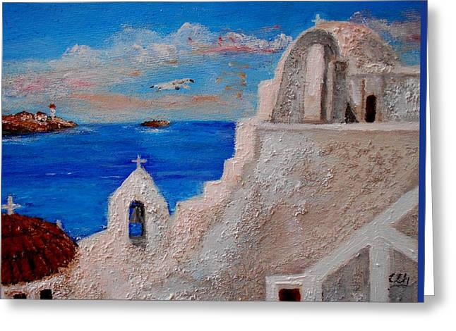 Sea Birds Greeting Cards - Colors of Greece Greeting Card by Constantinos Charalampopoulos