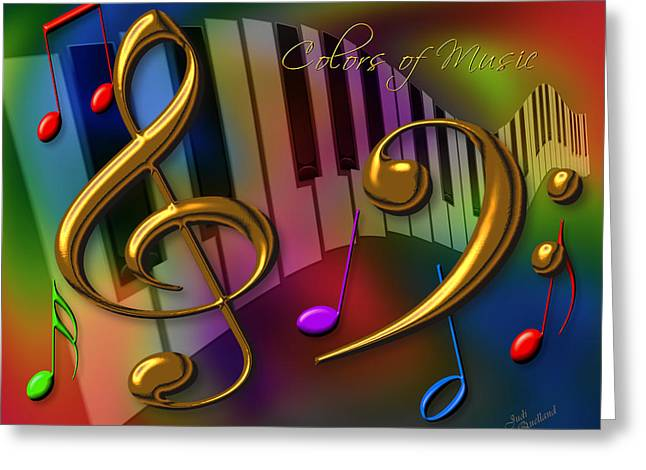 Clef Greeting Cards - Colors of Music Greeting Card by Judi Quelland