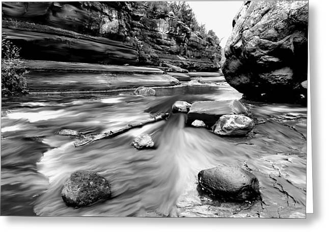 Usa Digital Art Greeting Cards - Colors of Sedona BW Greeting Card by Chandra Nyleen