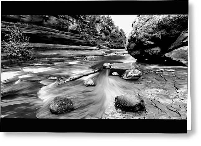 Slide Prints Digital Greeting Cards - Colors of Sedona BW Greeting Card by Chandra Nyleen
