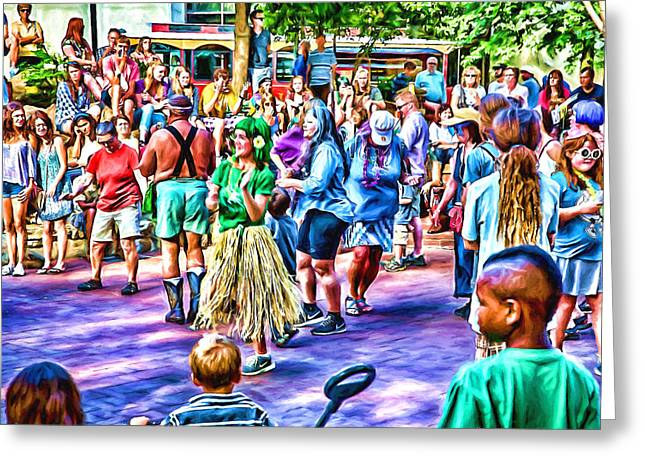 Colors Of The Drum Circle Greeting Card by John Haldane