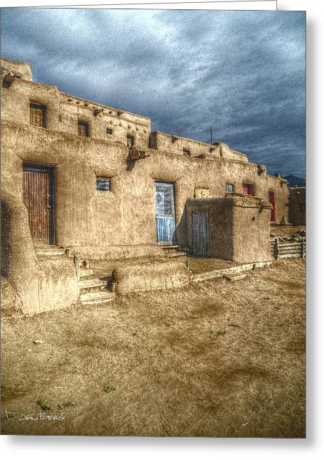 Taos Digital Greeting Cards - Colors of the Taos Pueblo Greeting Card by Don Berg
