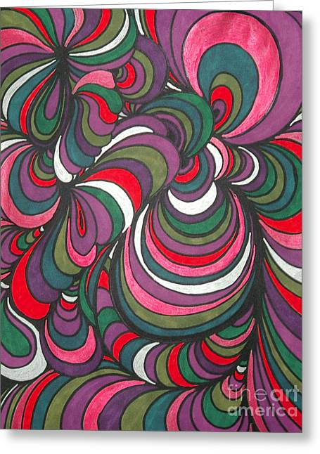 Vivid Colour Drawings Greeting Cards - Colorway 5 Greeting Card by Ramneek Narang