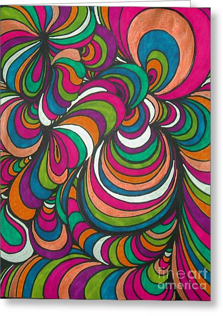 Vivid Colour Drawings Greeting Cards - Colorway1 Greeting Card by Ramneek Narang