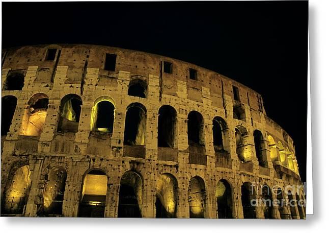 Sami Sarkis Greeting Cards - Colosseum illuminated at night Greeting Card by Sami Sarkis
