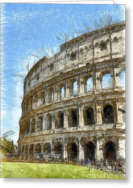 Colosseum Or Coliseum Pencil Greeting Card by Edward Fielding