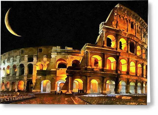 Mario Carini Greeting Cards - Colosseum Under the Moon Greeting Card by Mario Carini