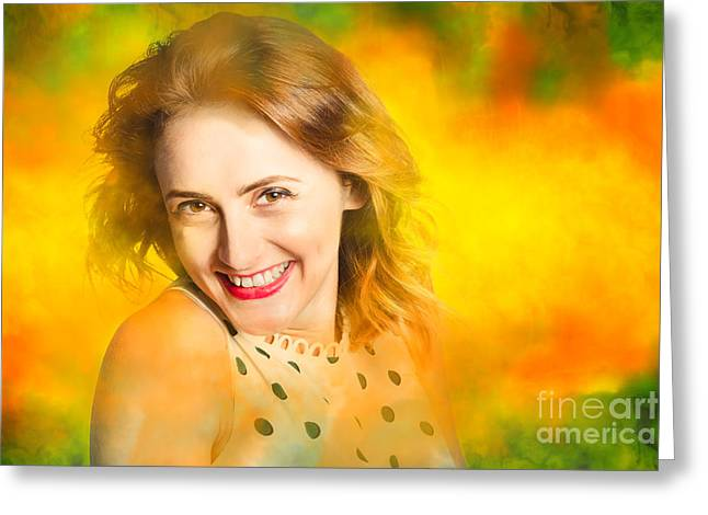 Colour And Fashion Pin Up Girl Greeting Card by Jorgo Photography - Wall Art Gallery