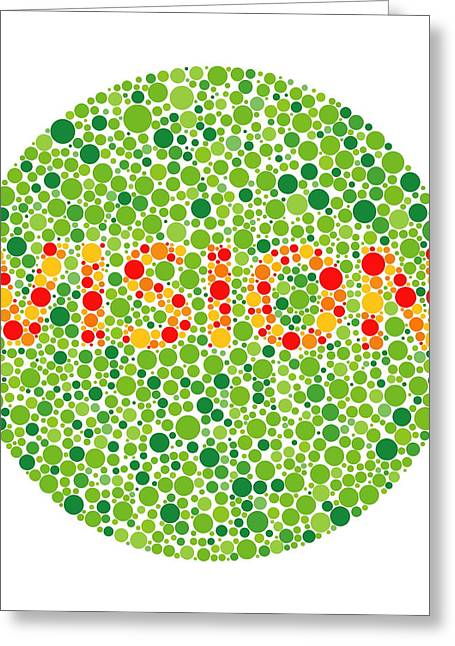 Diagnosis Greeting Cards - Colour Blindness Test Greeting Card by David Nicholls