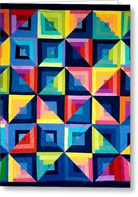 Contemporary Tapestries - Textiles Greeting Cards - Colour Play Quilt Greeting Card by Carola Ann-Margret Forsberg