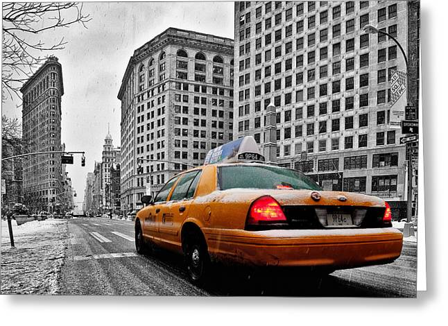 Looking Up Greeting Cards - Colour Popped NYC Cab in front of the Flat Iron Building  Greeting Card by John Farnan