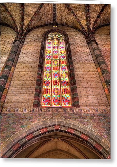 Coloured Glass Greeting Cards - Coloured glass in the Church of the Jacobins in Toulouse Greeting Card by Semmick Photo
