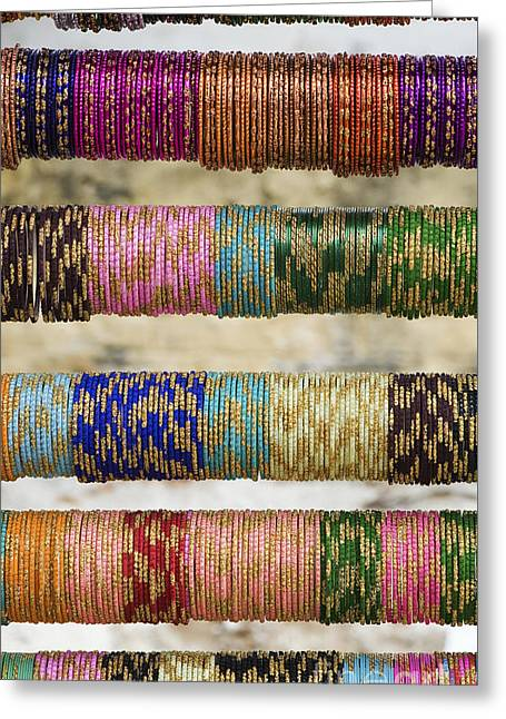 Bracelet Greeting Cards - Coloured Glass Indian Bangles Greeting Card by Tim Gainey
