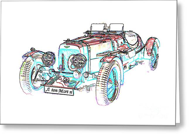 Coloured Greeting Cards - Coloured pencil Aston Martin Greeting Card by Peter McHallam