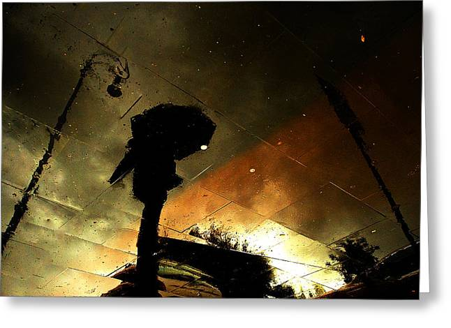 Streets Greeting Cards - Coloured Rain Greeting Card by Fulvio Pellegrini