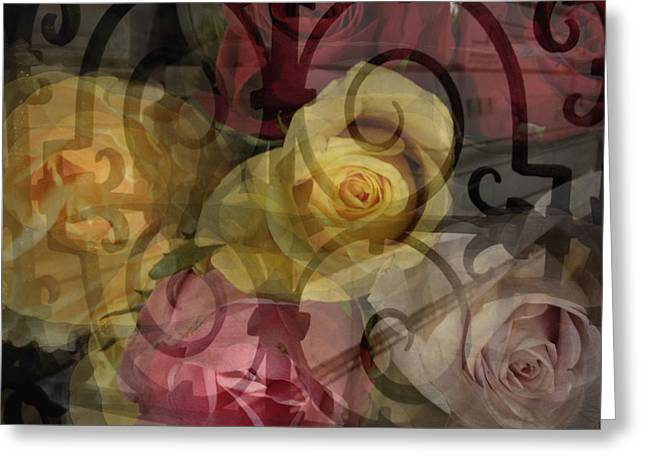 Coloured Greeting Cards - Coloured roses Greeting Card by Damijana Cermelj