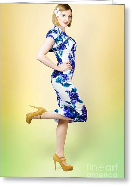 Full-length Portrait Photographs Greeting Cards - Colourful a blond retro pinup girl in high heels Greeting Card by Ryan Jorgensen