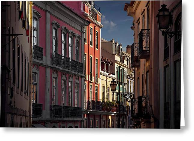 Colourful Architecture In Lisbon Portugal  Greeting Card by Carol Japp