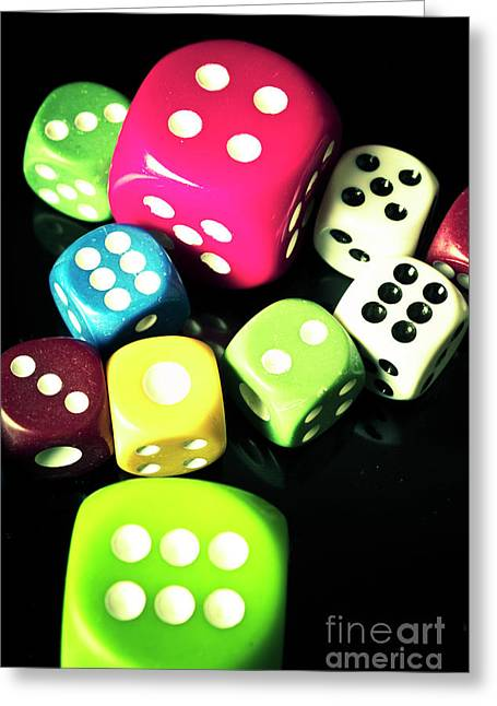 Colourful Casino Dice  Greeting Card by Jorgo Photography - Wall Art Gallery