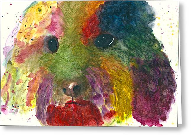 Art Product Drawings Greeting Cards - Colourful dog Portrait Art Greeting Card by Zen Creation