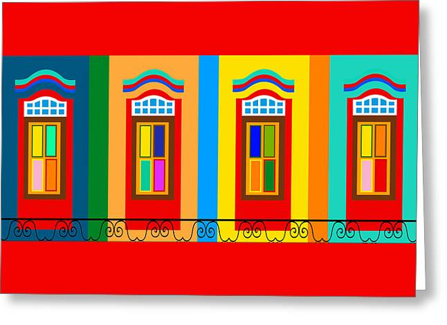 Window Of Life Drawings Greeting Cards - Colourful Facade Of The Building In Little India Greeting Card by Dragana  Gajic