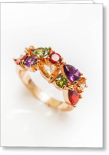 Colourful Gem Stone Engagement Ring Greeting Card by Jorgo Photography - Wall Art Gallery