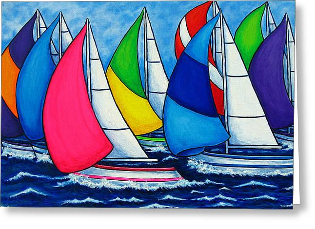 Sailing Boat Greeting Cards - Colourful Regatta Greeting Card by Lisa  Lorenz