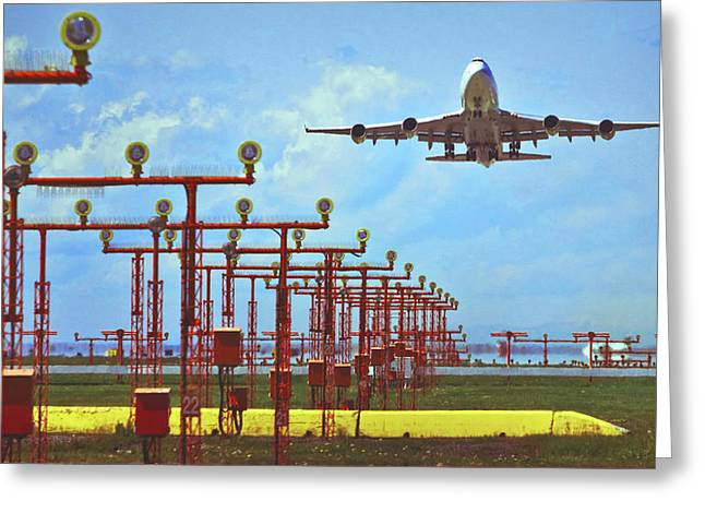 737 Greeting Cards - Colourful Take-Off Greeting Card by Patrick English