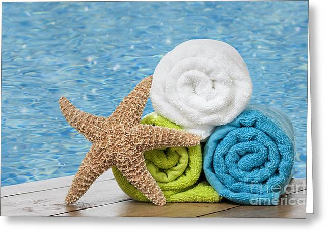 Summer Greeting Cards - Colourful towels Greeting Card by Amanda And Christopher Elwell