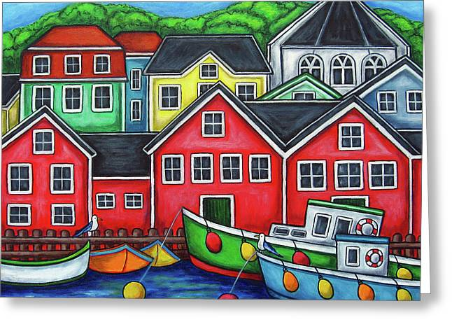 Colours of Lunenburg Greeting Card by Lisa  Lorenz