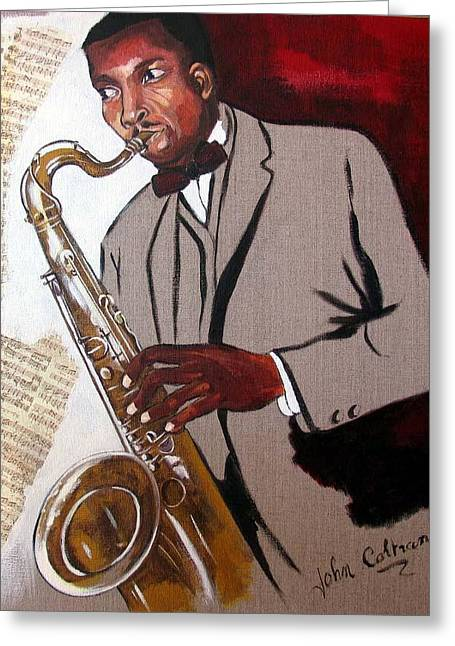 Figuratif Greeting Cards - Coltrane Greeting Card by Cathy Belleville
