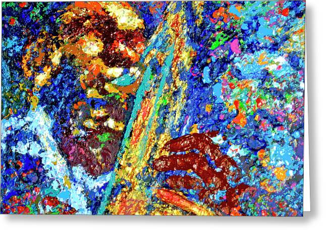 Coltrane Mixed Media Greeting Cards - Coltrane Greeting Card by Da Ghost