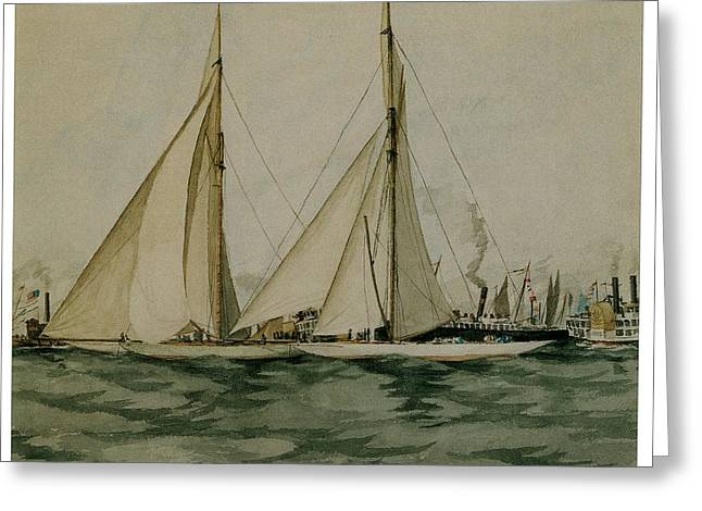 Sea Going Greeting Cards - Columbia and Shamrock  Americas Cup Greeting Card by Edward Hopper