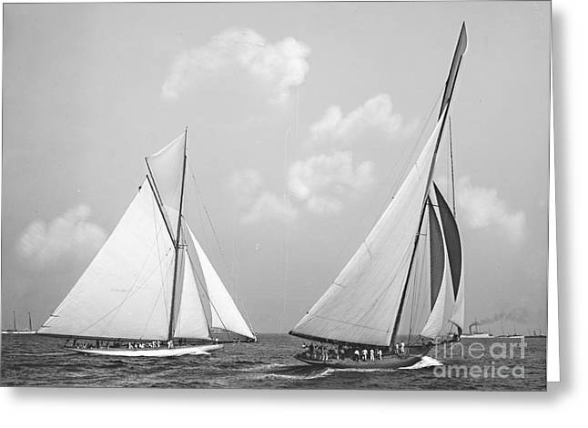 Columbia And Shamrock Race The Americas Cup 1899 Greeting Card by Padre Art