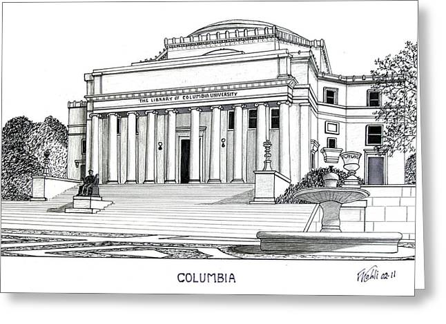 College Campus Buildings Drawings Greeting Cards - Columbia Greeting Card by Frederic Kohli