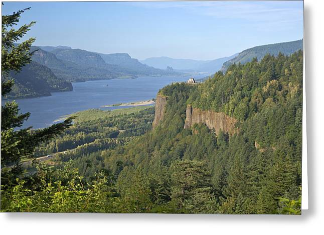 Scenic Drive Greeting Cards - Columbia River Gorge and surrounding forests. Greeting Card by Gino Rigucci
