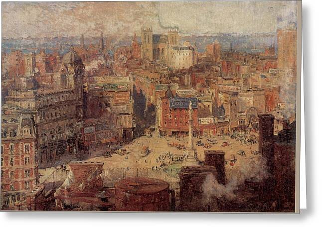 Columbus Circle New York Greeting Card by Colin Campbell Cooper