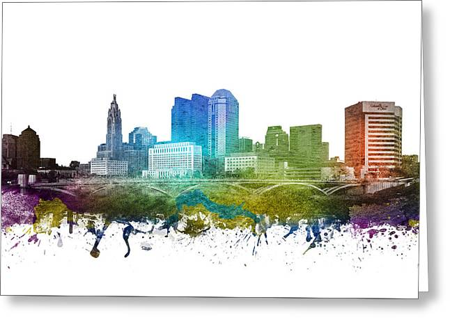 Columbus Ohio Greeting Cards - Columbus cityscape 01 Greeting Card by Aged Pixel